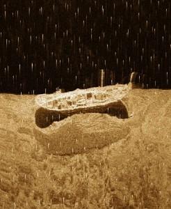 Epava subacavtica platoul continental al Marii Negre jud Constanta imagine sonar lateral