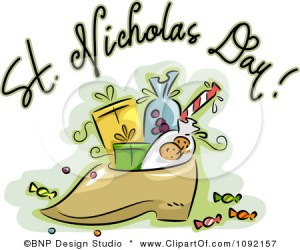 1092157-Clipart-St-Nicholas-Day-Greeting-Over-A-Shoe-With-Goodies-Royalty-Free-Vector-Illustration